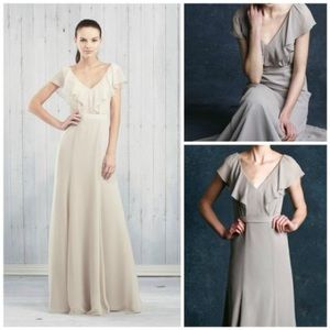 Jenny Yoo Mineral Grey Chiffon Cecilia Dress